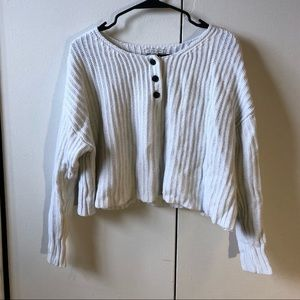 American Eagle White Cropped Sweater